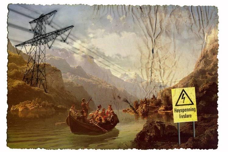 """Organisasjonen Bevar Hardanger har manipulert det kjente maleriet """"Brudeferd i Hardanger"""" (1848) av Tidemand og Gude, for å vise sin skrekkvisjon av hvordan kraftlinjer vil prege Hardangerfjorden. (Foto: Bevar Hardanger)"""