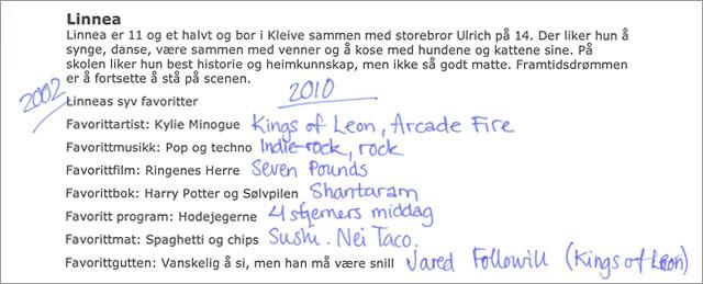 - Jeg hater alt det der, sier Linnéa om Linnéa anno 2002. Dyr er HELT uaktuelt! (Faksimile: NRK MGP JR)