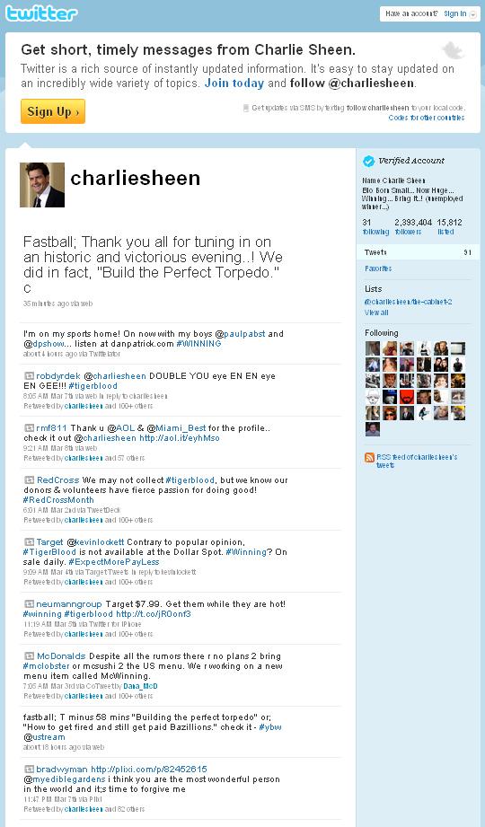 Charlie Sheens Twitter. (Skjermdump: Twitter)