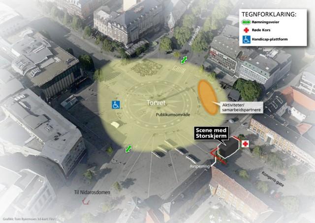 Kart over området for VG-lista Topp 20 i Trondheim. (Grafikk: Tom Byermoen. 3D-kart: Finn)