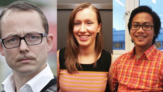 Ludvig Løkholm Lewin, Anne Dorte Lunås og Nareas Sae Khow skal lage dokumentarer på P3. (Foto: NRk)