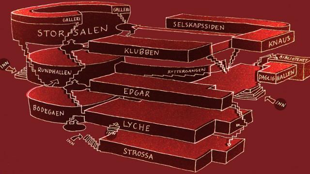 Oversiktskart av Studentersamfundet. (Illustrasjon: Studentersamfundet/samfundet.no/informasjon/kart)