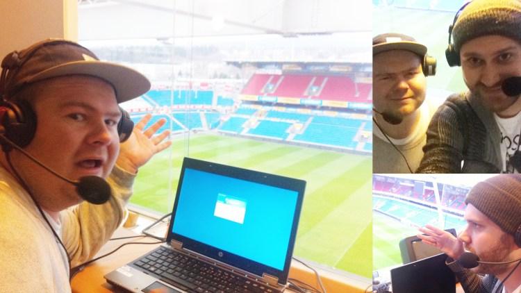 Sven og Ken tester kommentatorbua på Ullevaal stadion (Foto: Sven Bisgaard Sundet/Ken Wasenius-Nilsen, NRK P3).