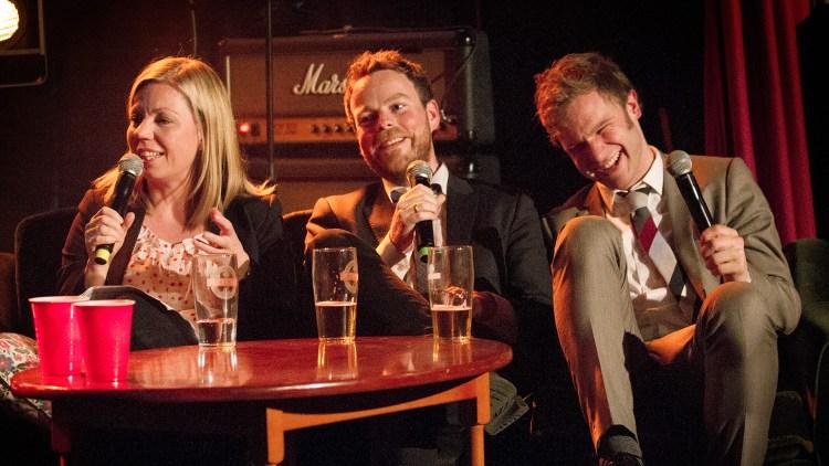 Snorre og Tornjørn sammen med politisk kommentator i NRK, Trine Eilertsen. (Foto: Lars Haugdal Andersen, NRKP3)