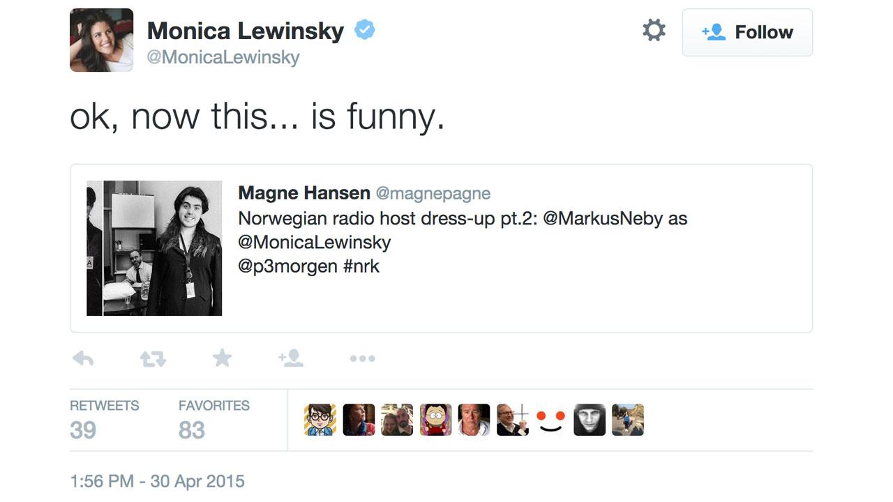 Monica Lewinsky retweetet P3morgen-Markus