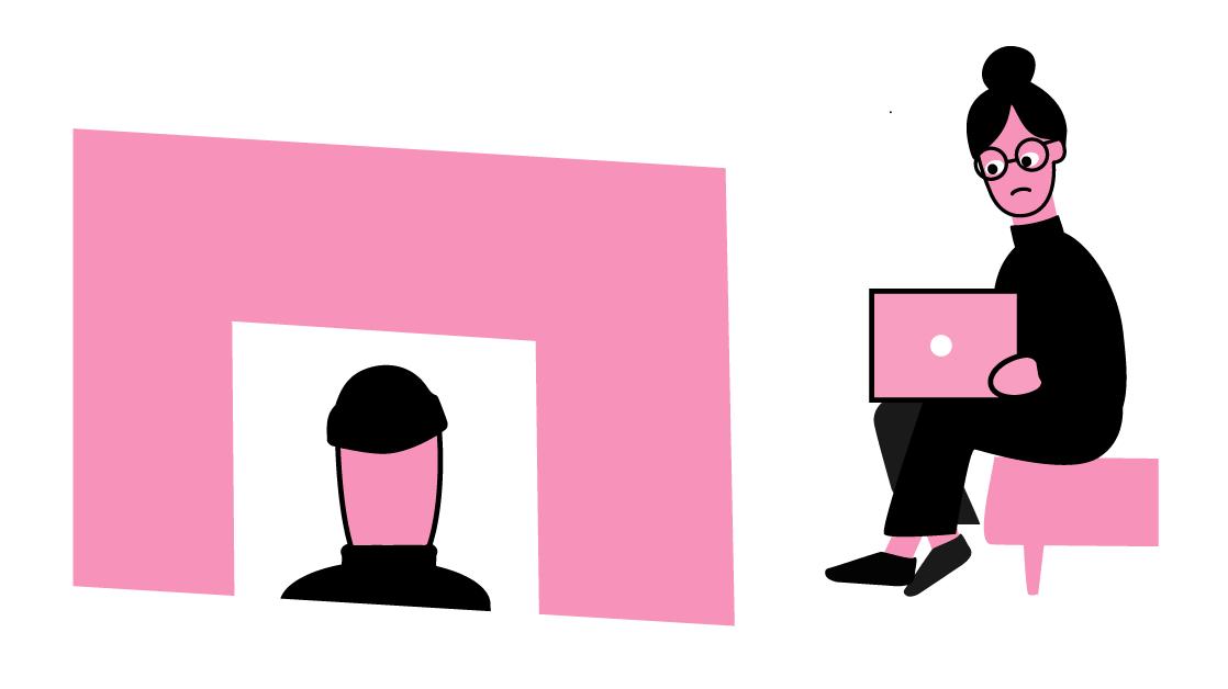 Illustrasjonen viser at Mia ser på laptopen med eit trist blikk. Peder kjem inn i rommet.