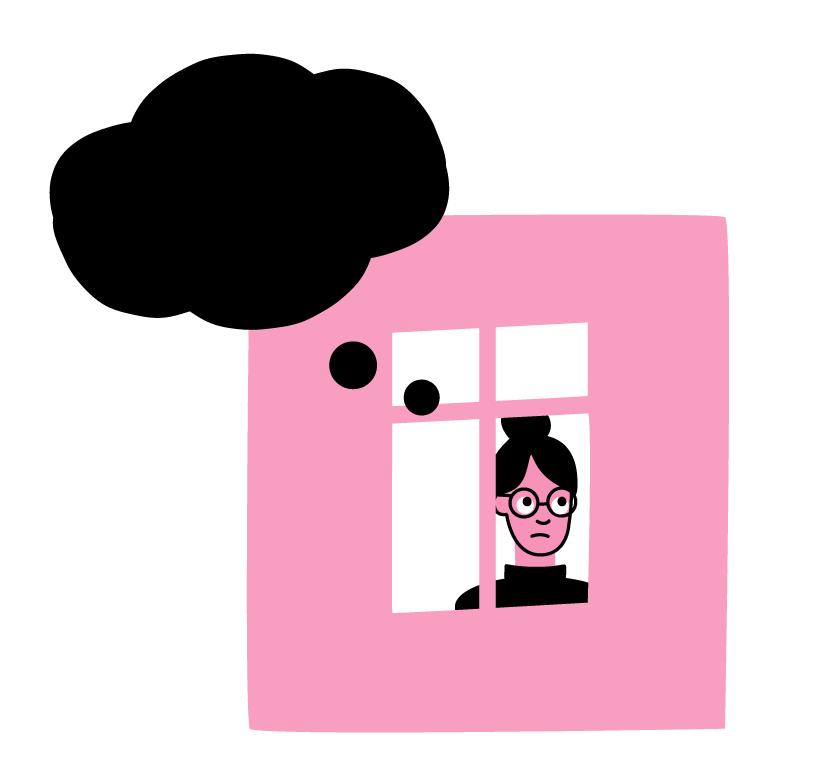 Illustrasjonen viser Mia som er inne og ser ut vindauga. Det kjem ei svart tenkeboble frå hovudet hennar.