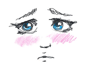 Ein enkel illustrasjon av eit trist ansikt, blanke auger og rosa kinn.