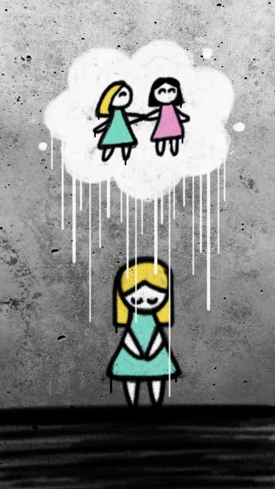 Det er bilete av ein murvegg, og i grafittistil er det teikna på ei trist jente i som held hendene samla og ser ned i bakken. Over ho heng ei sky som regner ned på ho, og inne i skya ser ein jenta og veninna som helder hender og smiler.