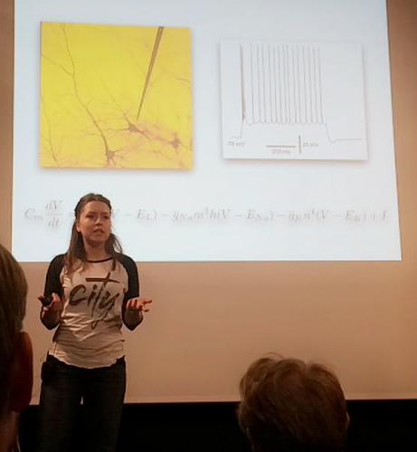 Marte Julie står foran en tavle der det vises en presentssjon med en veldig lang og komplisert ligning.