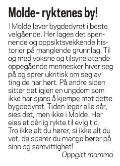 Skjermdump av leserinnlegg: Molde- ryktenes by!