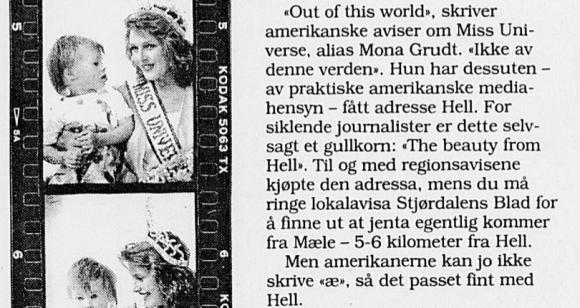 Faksimile: Mona Grudt blei i avisene kalla The beauty from hell.
