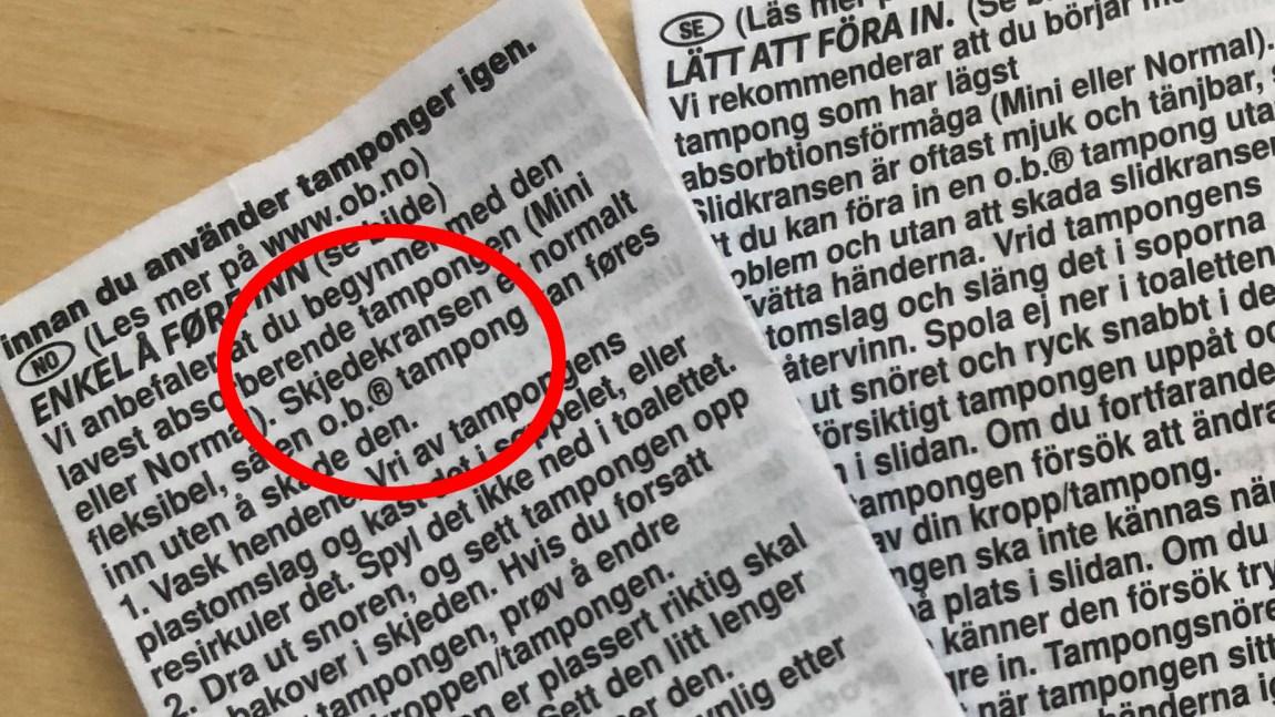 """Bilde viser pakningsvedlegget til o.b., med en rød ring rundt ordet """"skjedekransen""""."""