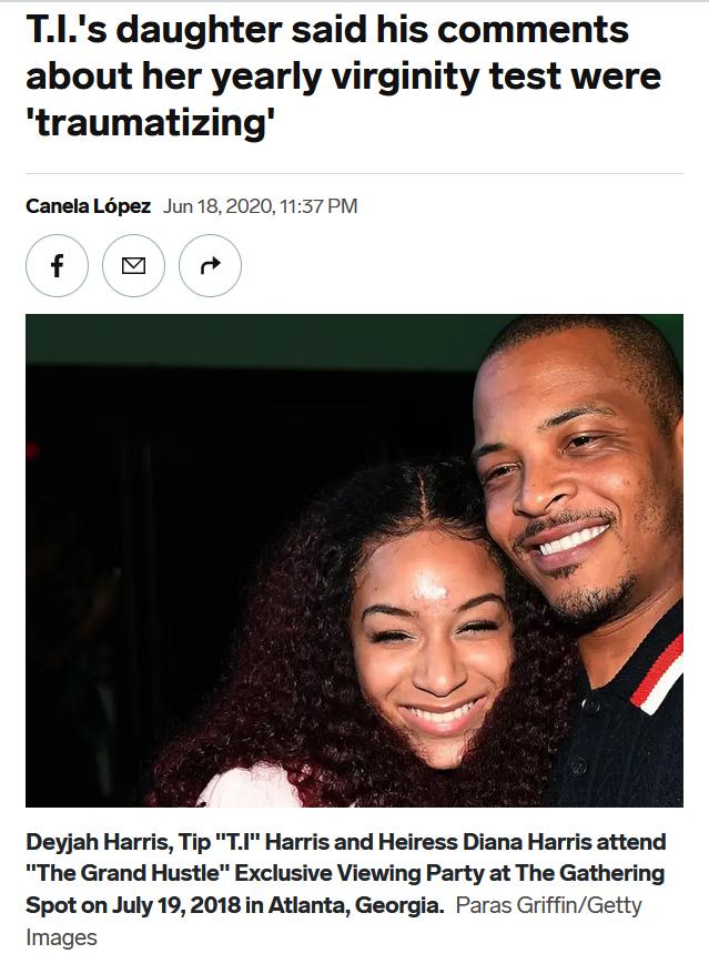 Skjermdump av en nettartikkel om rapperen T.I som skal ha tatt med datteren til jomfrusjekk hos legen. Et bilde viser en smilende jente med krøllete mørkt hår og rapperen T.I som smiler og holder rundt henne.