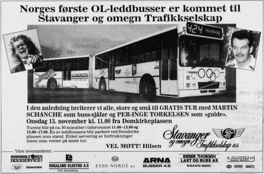 Faksimile frå Rogalands Avis om gratis tur med leddbussen, med Martin Schanche som sjåfør og Per-Inge Torkelsen som guide.