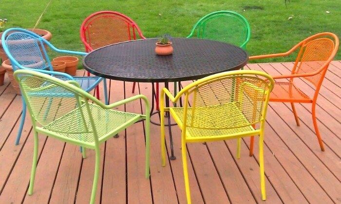 chaises et table de jardin en fer remis