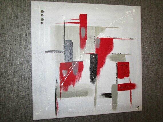 Toile Moderne Geometrie En Rouge Et Noir La Peinture En Abstrait