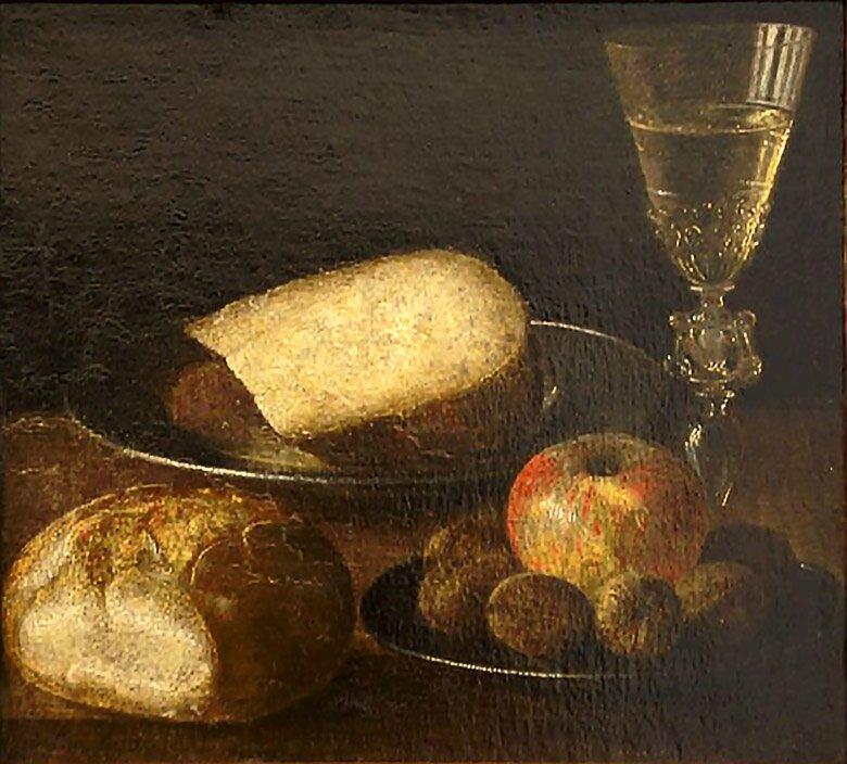 Fruits fromage et pain , hst , 28,5 31,2cm - Musée andré Malraux , le Havre