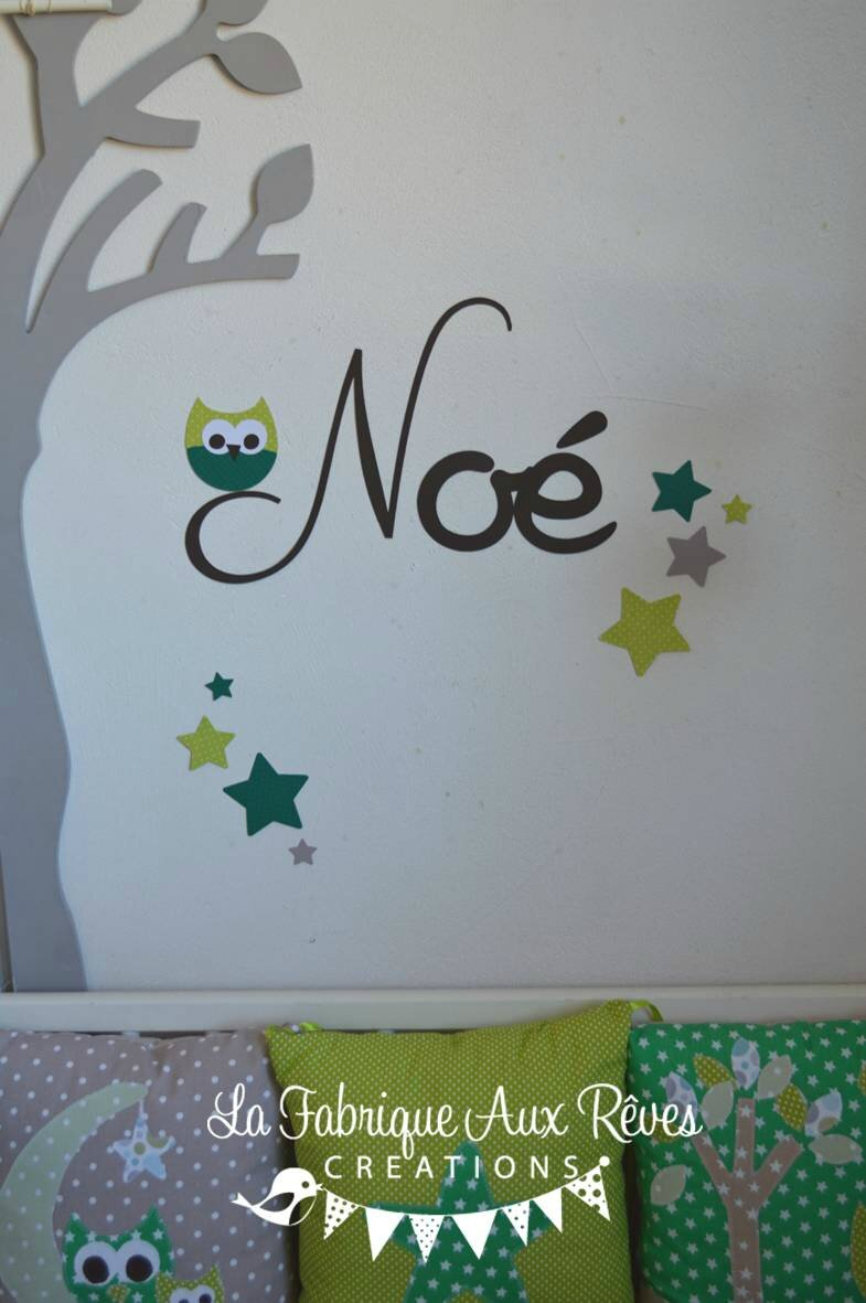 stickers prnom garon hibou toiles chocolat anis vert  dcoration chambre bb hibou toiles