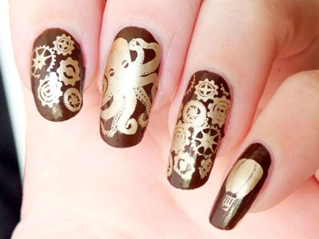 nail-art-steampunk-octopus-jules-verne-plaqes-plates-bundle-monster-create-your-own-gears-stamping-eyeslipsface-brown-kiko-mirror-gold (1)