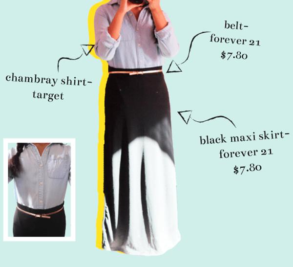 what i wore: black maxi skirt