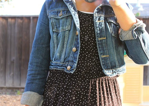 what i wore: denim and dots