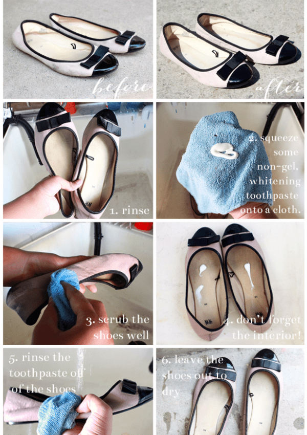 diy: cleaning shoes with toothpaste