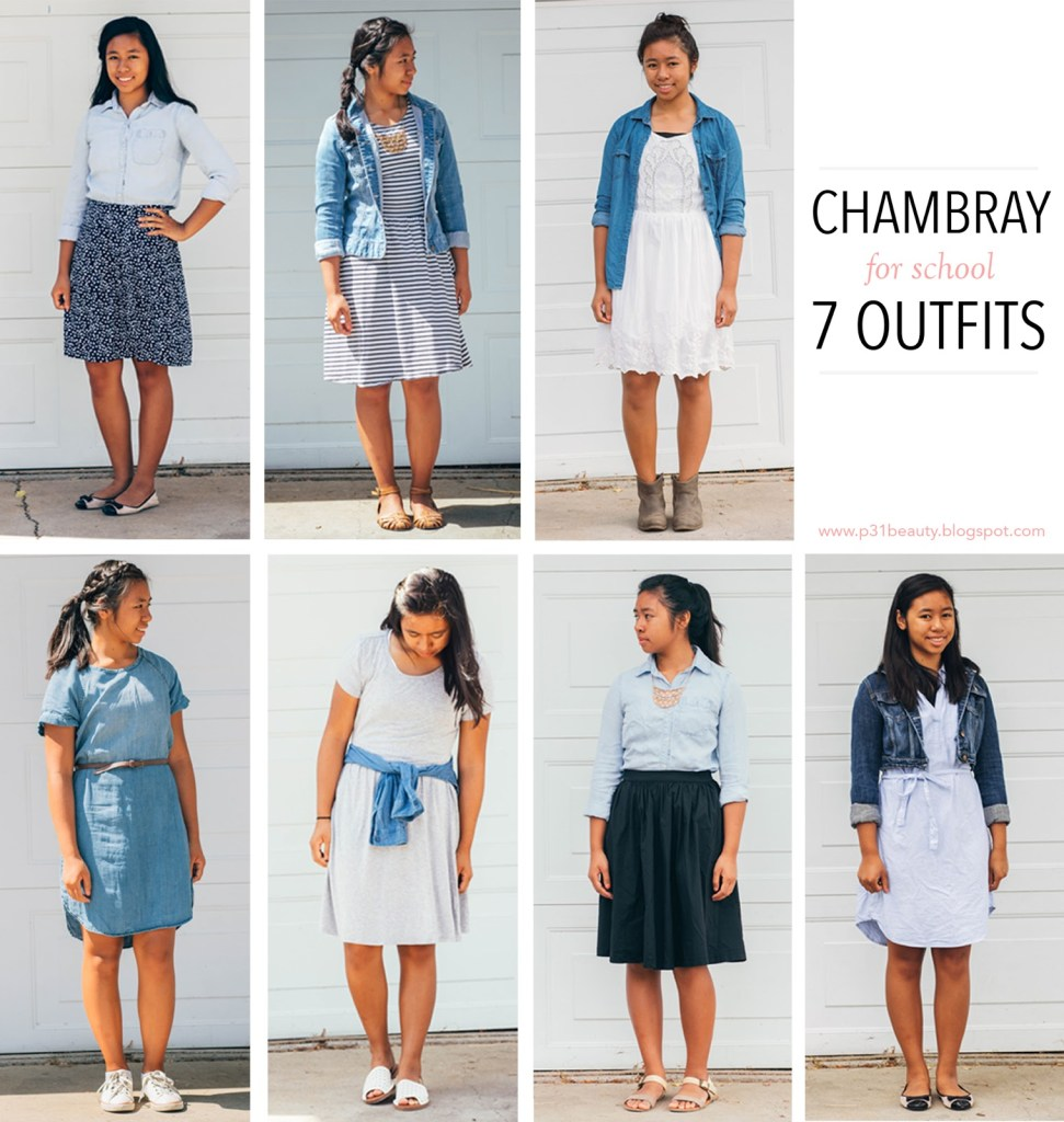 chambray7ways 971x1024 - Chambray for School- 7 Outfits