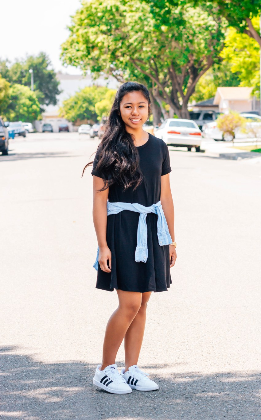 Black tshirt dress, chambray, and Adidas sneakers for a sporty and casual look | 7 cute and modest back to school outfits that you can wear | high school and college outfits | P31beauty