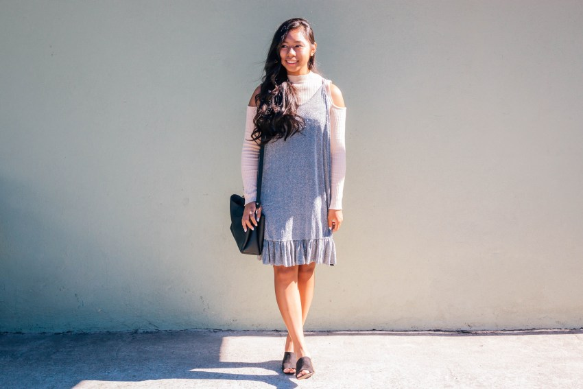 Glitter cami dress over a ribbed top with black heels and purse. This fall outfit is perfect for going out!   In this post, Blaze Ann talks about getting over an embarrassing moment.