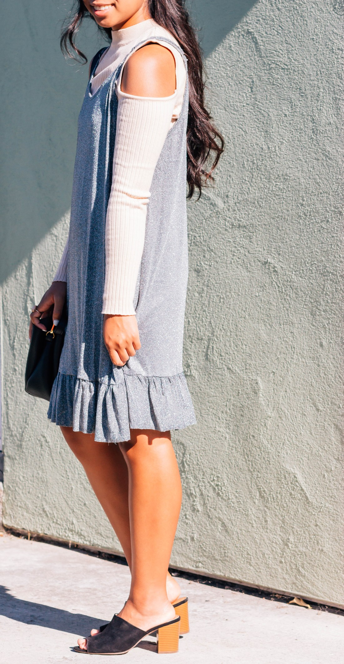 Glitter cami dress over a ribbed top with black heels and purse. This fall outfit is perfect for going out! | In this post, Blaze Ann talks about getting over an embarrassing moment.