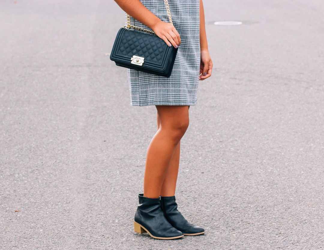plaid floral embroidered dress, black boots, tassel earrings