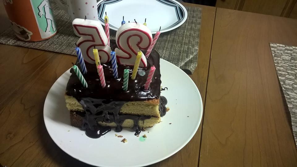 yellow cake with chocolate ganache