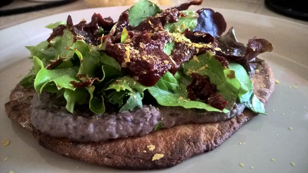 Black Bean Barbecue Hummus Naan Pizza