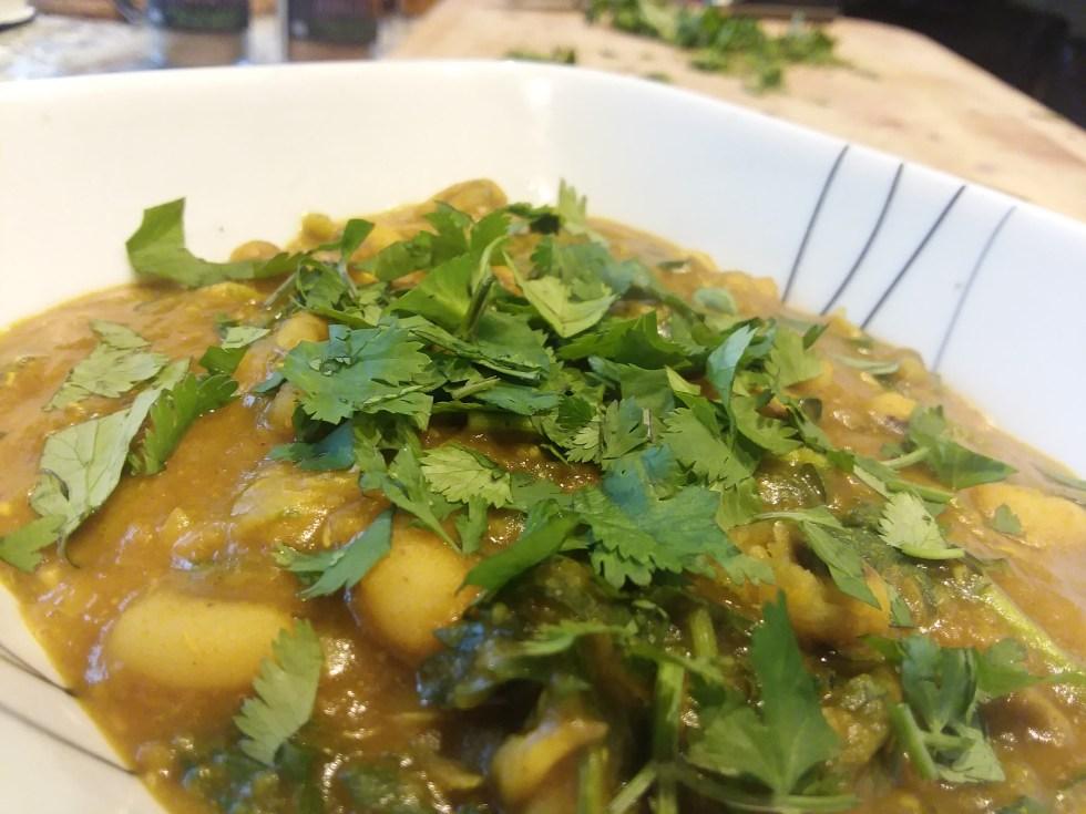 Black eyed peas, lentil, and greens stew