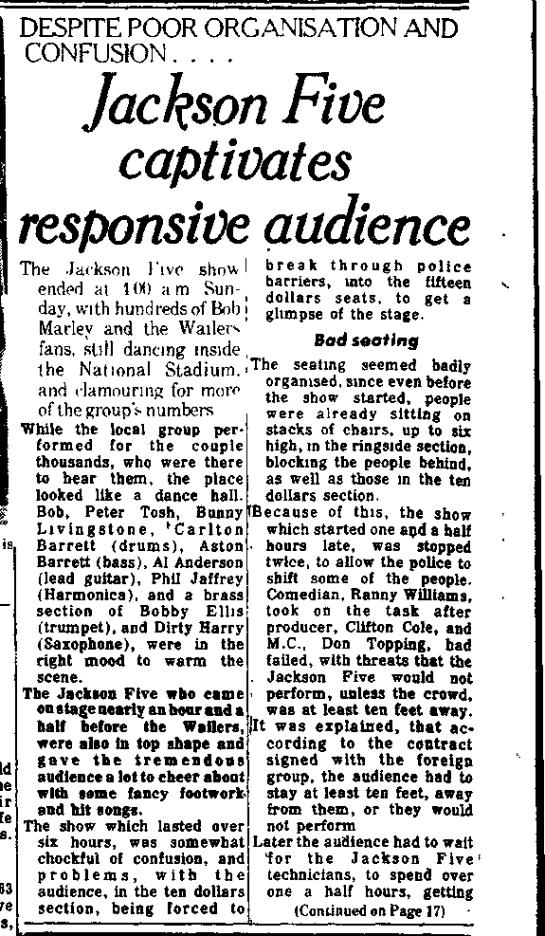 Les J5 et Bob Marley: rencontre en Jamaïque, mars 1975