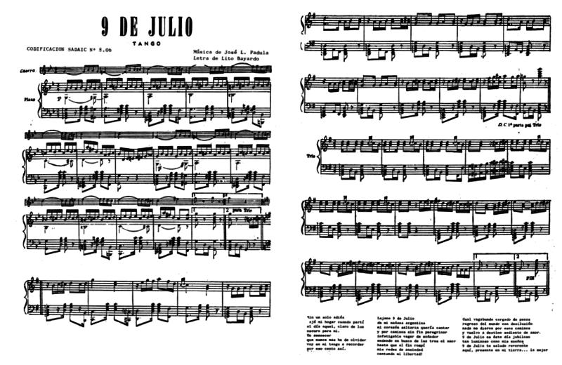 Partition piano 9 de julio