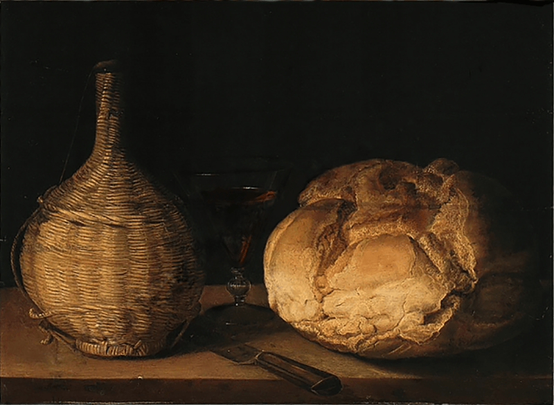 Carafe et miche , hs bois , 42,5 x 55,5cm - collection privée