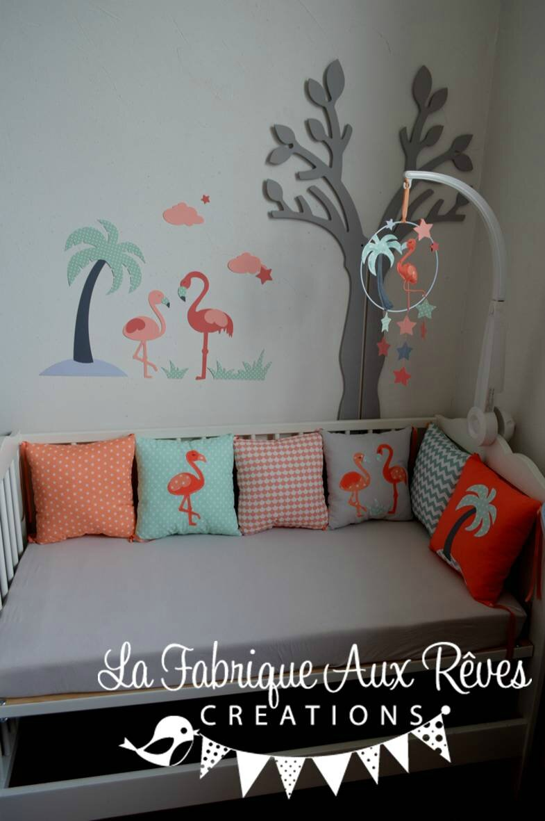 Dcoration chambre bb flamant rose mint corail saumon gris  Album photos  Gigoteuse et tour