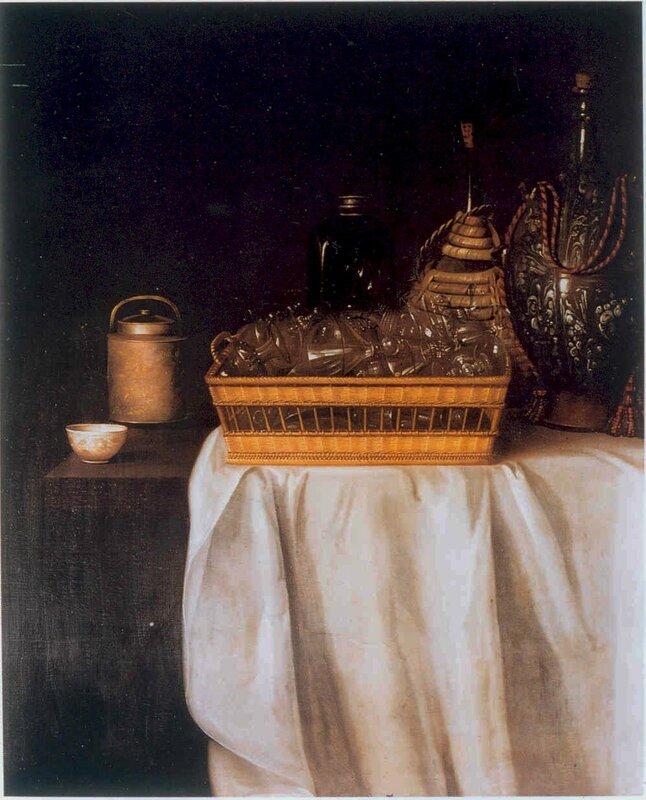 Corbeile de verreries , cruchons en verre et grès , hst , 116,8 x 93,5cm - Burnley,Towneley Hall Gallery and Museum
