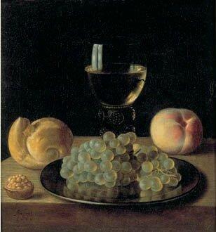 Assiette de raisins , roemer de vin , noix pêche et petit pain, hst , 33 x 35cm -Vt , 85 000 euros