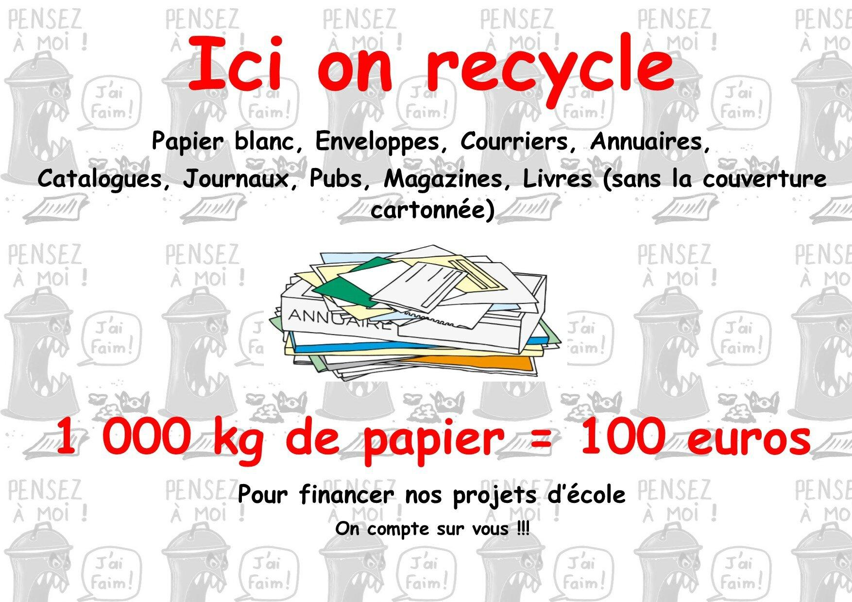 Action Recyclage Lcole La Vie Des Petits Chamignots