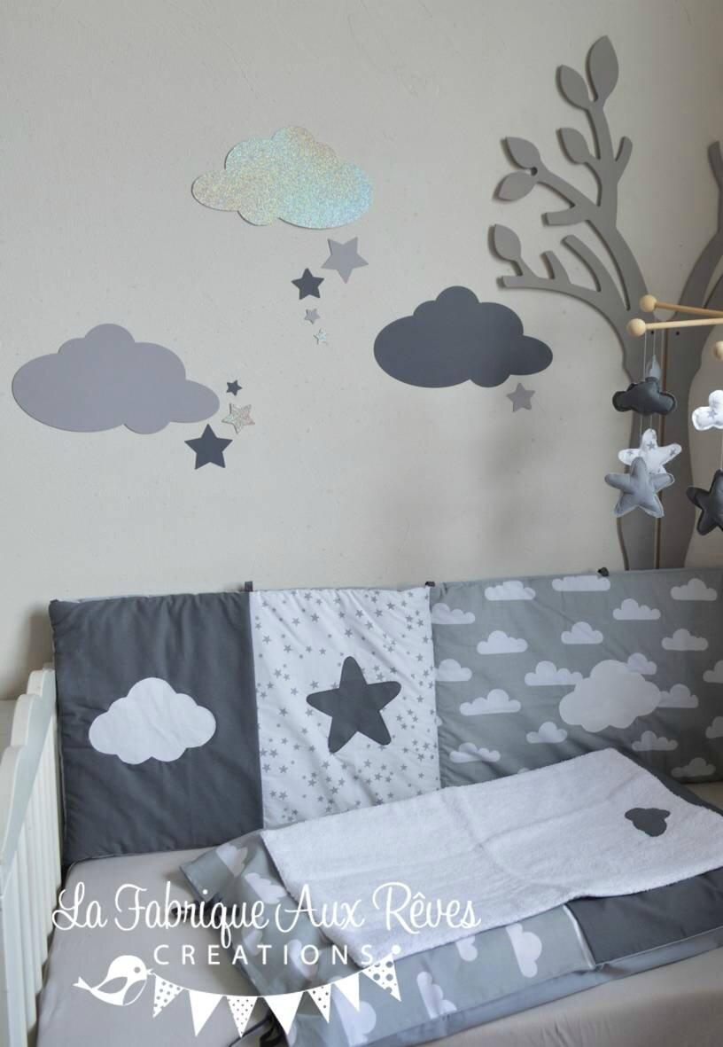 stickers nuages etoiles gris fonce argent gris clair decoration chambre bebe fille garcon nuage etoiles