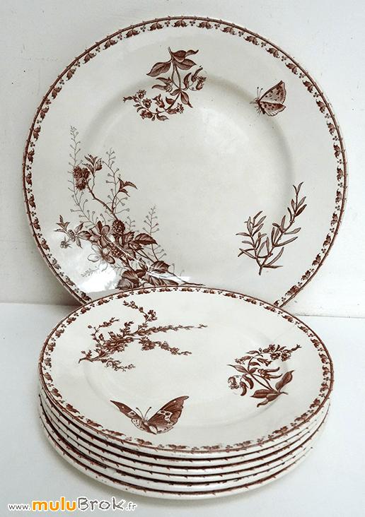 plat et assiettes fleurs papillon