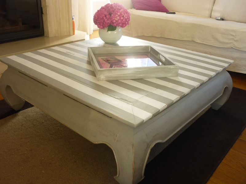 Table basse relooke avec rayures  DeCORin Ides  Conseils