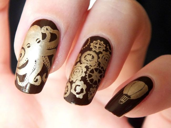 nail-art-steampunk-octopus-jules-verne-plaqes-plates-bundle-monster-create-your-own-gears-stamping-eyeslipsface-brown-kiko-mirror-gold (2)