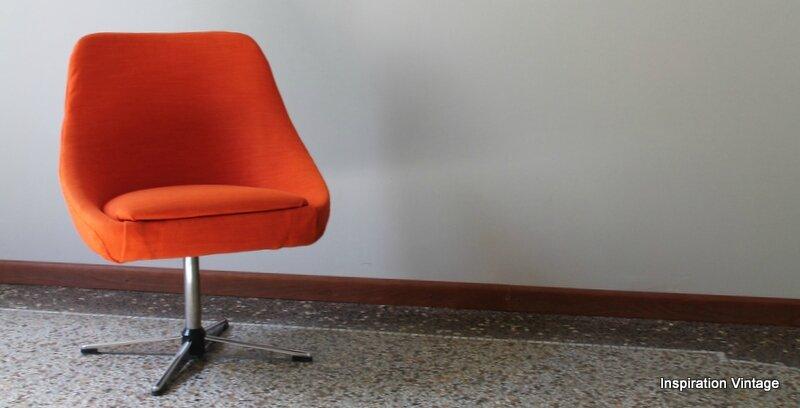 Petit fauteuil 70S Orange  Inspiration Vintage