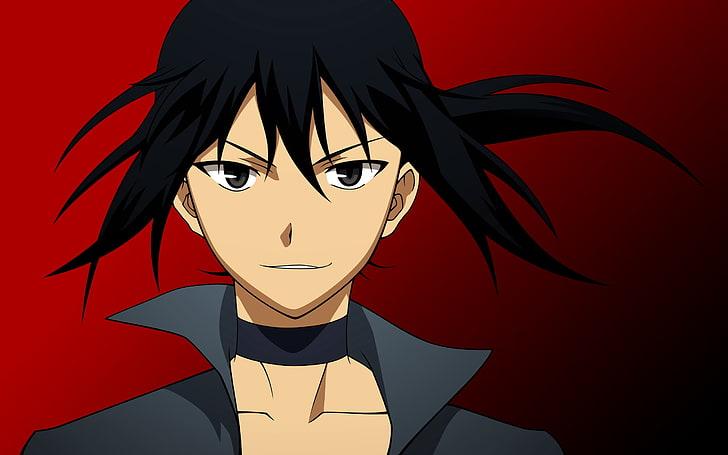 Black Haired Male Anime Character Illustration Anime Girl Brunette Grin Hd Wallpaper Wallpaperbetter