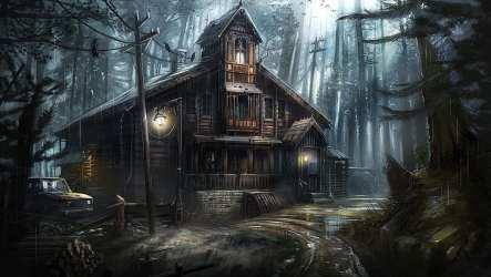Arte de fantasía casa embrujada casa fantasma casa árbol bosque abandonado Fondo de pantalla HD Wallpaperbetter