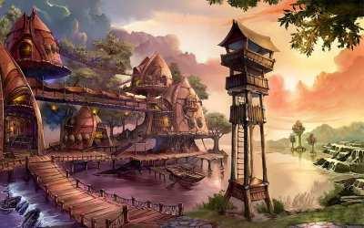 Fantasy Village homes mountains nautre tower water village house HD wallpaper Wallpaperbetter